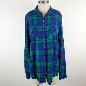 Relativity Plaid Long Sleeve Button Front Shirt